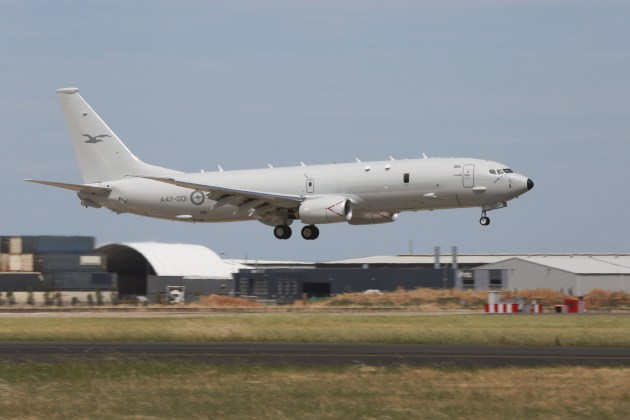 A47-001, the first RAAF Poseidon aircraft, comes in to land at its home Base, RAAF Base Edinburgh for the first time. Credit: Defence