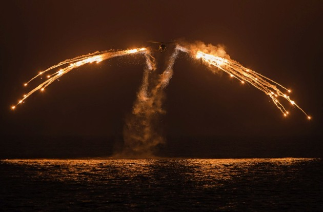 HMAS Arunta's S70-B Helicopter (Skeletor) fires decoy flares for exercise while on patrol in the Middle East region. Chemring Australia supplies a wide range of countermeasures to the ADF.