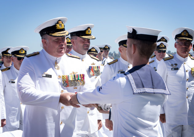 Rear Admiral Stuart Mayer receives his Fleet Commander's pennant in 2017. Credit: Defence