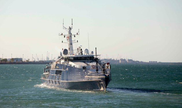 EM's Cobra satellite terminal is fitted to the Cape Class patrol boats. (Defence)