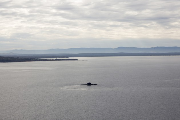 An Australian submarine enters Jervis Bay during a visit to the East Australian Exercise Area. Defence