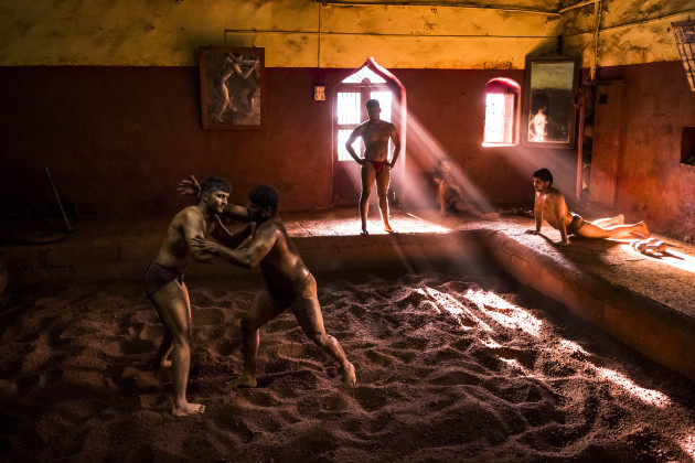 © Daniel Berehulak. Kushti wrestlers train at Gangavesh Talim on 18 September, 2017 in Kolhapur, India. Shot for Lumix.