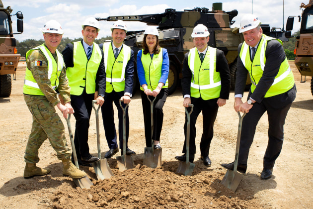 Major General David Coghlan; Minister for State Development Cameron Dick MP; Federal Minister for Defence Industry Steven Ciobo MP; Premier Annastacia Palaszczuk; Rheinmetall Defence Australia Managing Director Gary Stewart; Watpac Managing Director Martin Munro. Credit: Rheinmetall