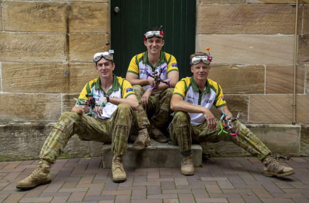 (l-r) Australian Army personnel, Lance Corporal Cameron Webster, Captain James Jenkins and Sapper Rhys Saville, represent the Australian Army during the International Drone Racing Tournament at Victoria Barracks, Sydney. Defence