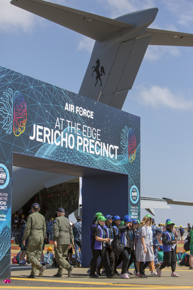 Students at the 2019 Australian International Airshow as part of the Jericho STEM kids engagement program.