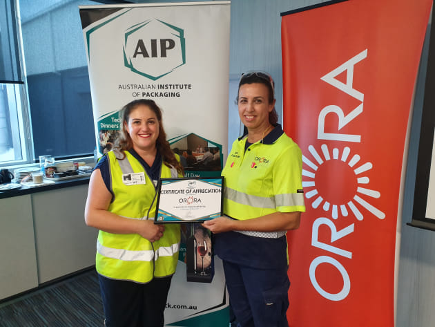 Joanne Cockerill, AIP NSW (left) thanks Orora's Cathy Parra.