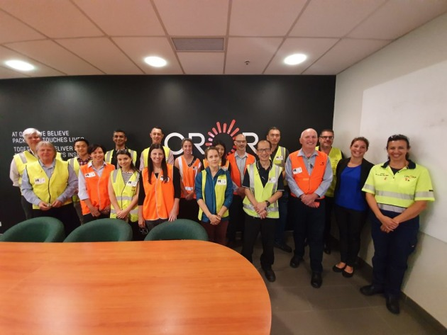 AIP guests and Orora staff at the Botany paper mill.