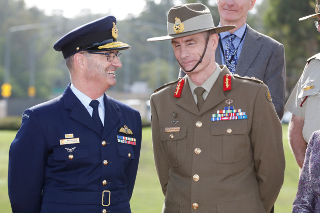 Air Marshal Mel Hupfeld with CDF General Angus Campbell at the announcement of his appointment as the next Chief of Air Force in Canberra. Credit: Defence
