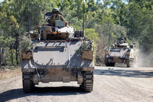 An Australian Army M113 armoured personnel carrier conducts a patrol during Exercise Talisman Sabre. Credit: Defence