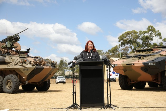 Minister for Defence Industry Melissa Price at the acceptance ceremony for the Australian Army's first Boxer vehicle. Defence