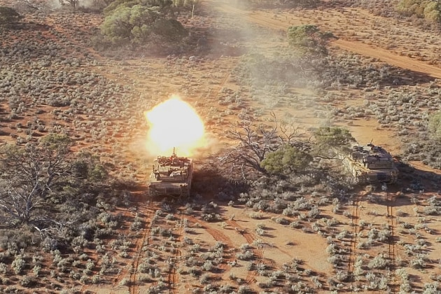 An M1A1 Abrams Main Battle Tank, from the 1st Armoured Regiment, fires its main armament during live-fire training at Cultana Training Area, South Australia. Credit: Defence