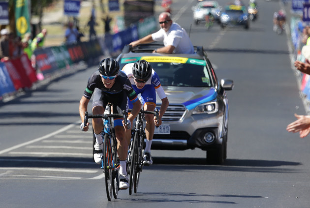 The sprint to the finish for Chris Hamilton, narrowly beating the strong climber Lucas Hamilton. Photo by Cycling Australia.