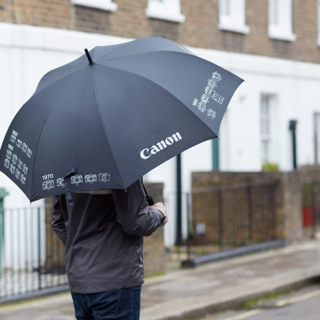 Umbrella £24.99 ($40AUD) 92cm black golf-style umbrella, decorated with a timeline of iconic Canon cameras. Unfortunately it doesn't look like it can double as a reflector.