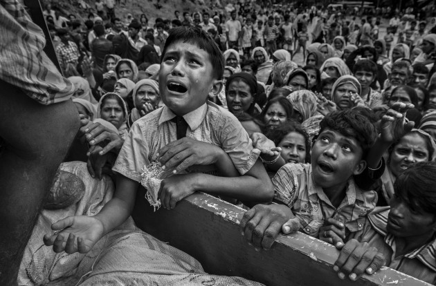 "More than 600,000 Rohingya refugees flooded into Bangladesh to flee an offensive by Myanmar's military that the United Nations has called ""a textbook example of ethnic cleansing"". Copyright: © Kevin Frayer, Canada, Shortlist, Professional, Current Affairs & News (Professional competition), 2018 Sony World Photography Awards"