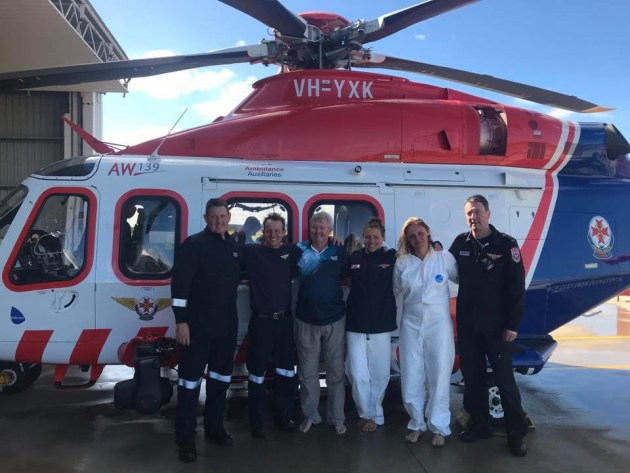 Rescued crewman Jamie Wilmot (third from left) with air rescue crews after the incident. Photo Facebook.