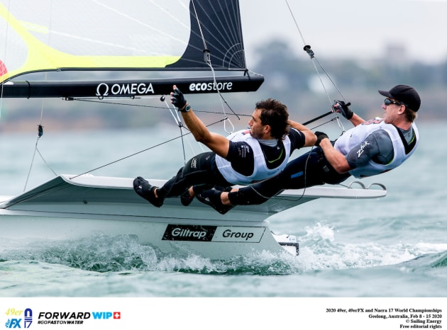Peter Burling and Blair Tuke (NZL) lead the 49er World Championships in Geelong.