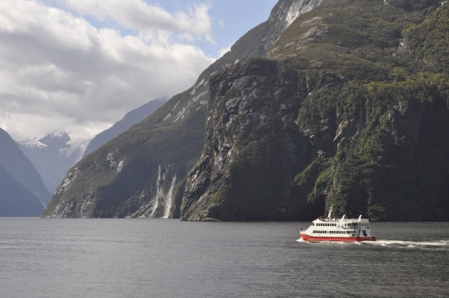Cruising on Milford Sound after four days on the track.