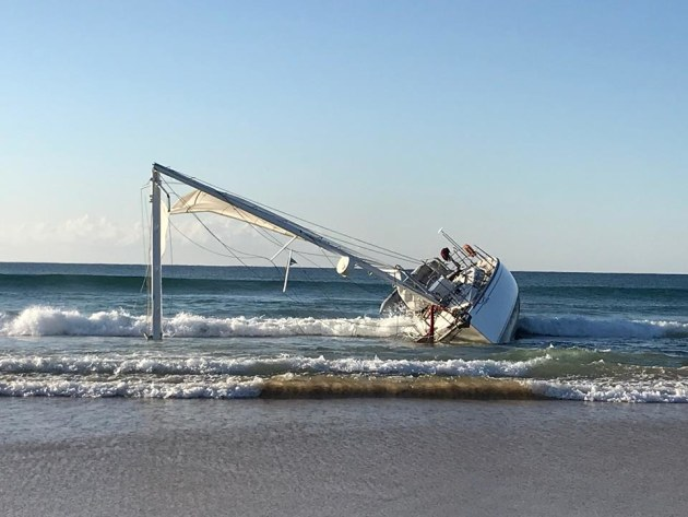 The yacht aground at North Beach Mylestone. Photo Marine Area Command.