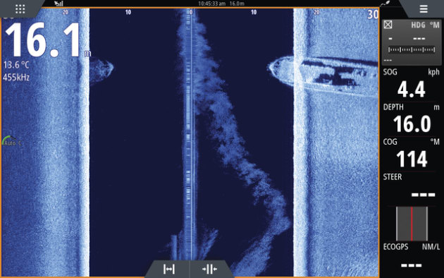 Same wreck in 16.0 m water (structure scan).