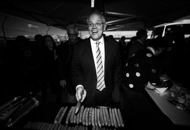 © Ryan Pierse. The Unlosable Election. Scott Morrison, Prime Minister of Australia, cooks sausages during a Liberal Party Campaign Rally at Launceston Airport on April 18, 2019 in Launceston, Australia.