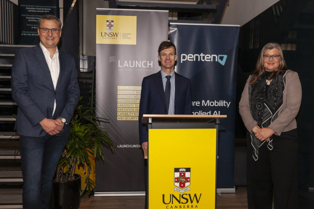 L-R: Penten's Matthew Wilson, USNW Rector Michael Frater and ACT Defence Advocate Kate Lundy. (Supplied)