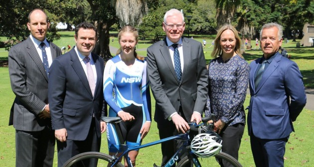 Peter Beaumont President of Cycling New South Wales, Hon. Stuart Ayers M.P., Minister for Sport, Sarah Cliff Australian Champion of Champions Under 15 women 2018, Mr. Gareth Ward M.P., Member for Kiama, Natalie Kaebisch nee Bates Commonwealth Games Gold medallist 2006, Graham Seers Olympian and CEO of Cycling New South Wales. Image: Karen Forman / Cycling NSW.