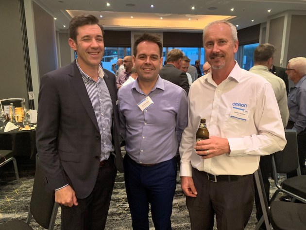 Derek Ford and Richard Green, Visy Automation; and Adrian Gunner, Omron