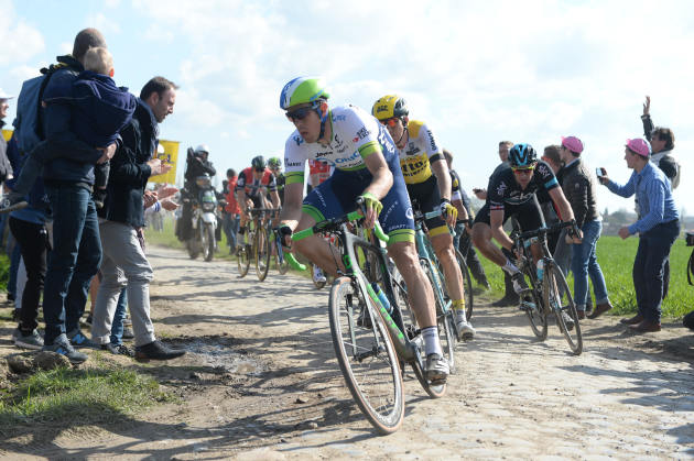 Hayman leading the break away group through one of the final pave sectors during the gruelling 257km Paris-Roubaix. Photo by Sirotti