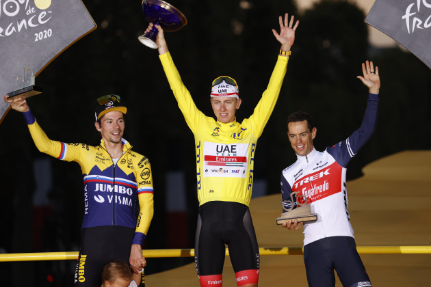 Primoz Roglic, Tadej Pogacar and Richie Porte on the 2020 Tour de France podium in Paris. Image: Sirotti