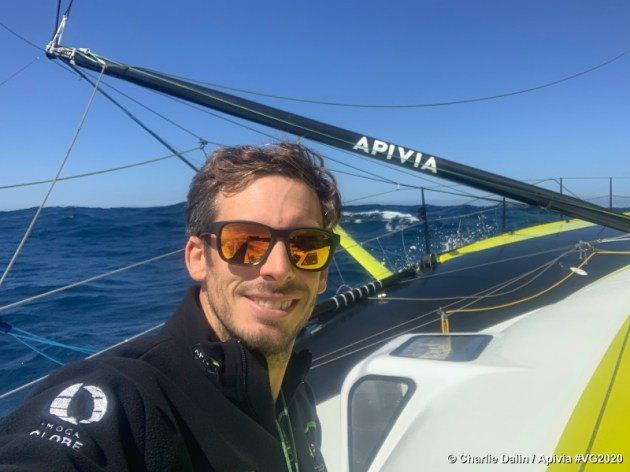 Photo sent from aboard the boat Apivia during the Vendee Globe sailing race on November 28, 2020. (Photo by skipper Charlie Dalin)
