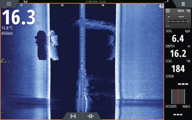 Different angle of wreck in 16.3 m water (structure scan).