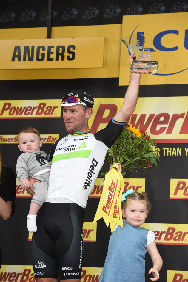 Mark Cavendish's win is a family affair as his wife and two children where there to share his 28th Tour de France victory. Photo by Sirotti