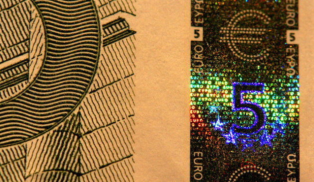 Security holograms are often used on banknotes. Photo by Dave Gough.