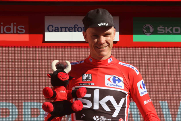 Chris Froome of Team Sky in the red leader's jersey at la Vuelta. Image: Sirotti
