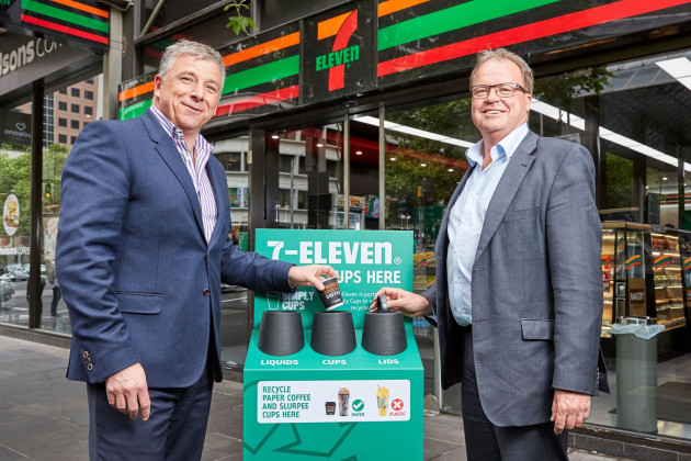 7-Eleven CEO and MD, Angus McKay, with Simply Cups MD, Rob Pascoe.