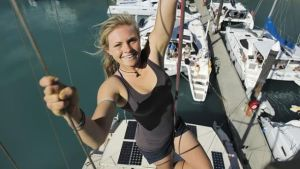 Mara Stransky, 16, originally from Queensland, has been living at sea with her parents for the last five years.  Source: News Corp Australia.