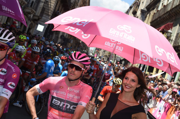 Big Time: Rohan Dennis on the start line prior to Stage 3 of the Giro d'Italia. Image: Sirotti.