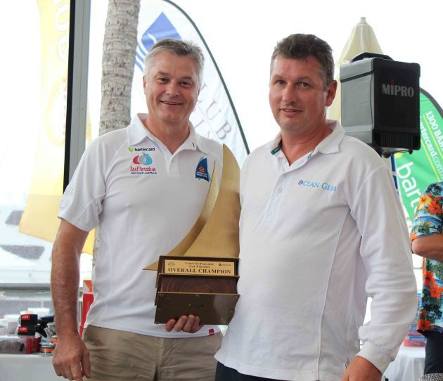 Bartercard Chief Executive Officer Clive van Deventer and OCEAN GEM owner and skipper David Hows. Photo SYC.