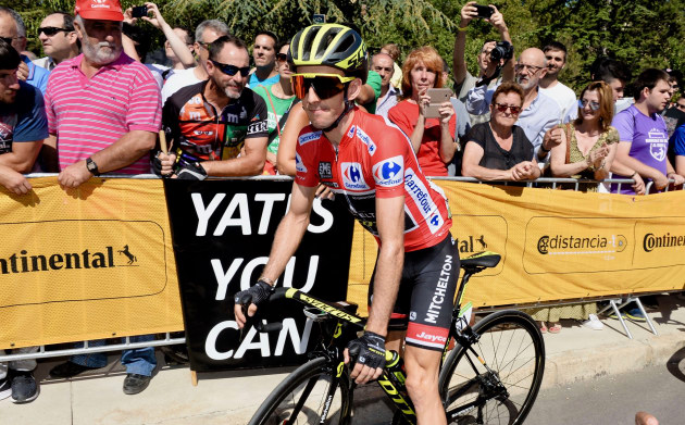 Yates You Can: Will Simon Yates be able to hold off veteran Movistar rider Alejandro Valverde's looming Stage 19 attack in the high country of Andorra? We sure hope so! Image: Sirotti.