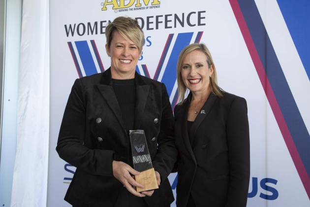 Nicole Davies, Communications winner, with Karinne Cilento of Boeing Australia. Credit: Leigh Atkinson