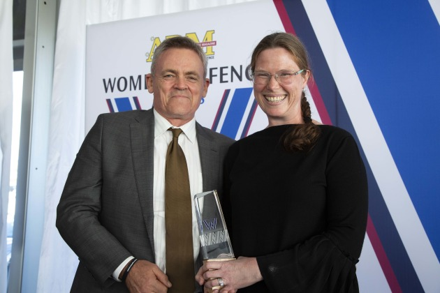 GP CPT Wendy Blyth, Project Management winner, with Rob Elder of Airbus Australia-Pacific. Credit: Leigh Atkinson