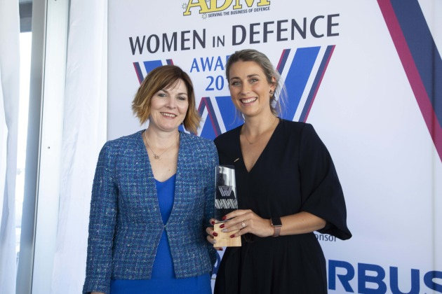 Tamara White of ASC, Rising Star award winner, with Caroline Dawson of Leidos. Credit: Leigh Atkinson