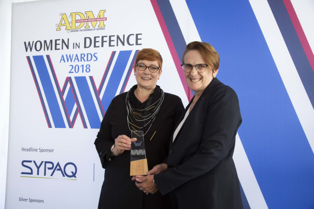 Hall of Fame winner Shireane McKinney with Minister for Defence Marise Payne. Credit: Leigh Atkinson