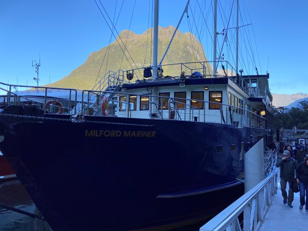 The Milford Mariner. We're our tour enjoyed a luxury buffet and wine as we sailed the Milford Sound. A treat at night for any astronomy enthusiasts.