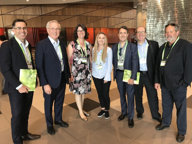 Representatives from the AIP and other industry bodies gathered for the launch of the National Food Waste Strategy. From left: Anthony Peyton, Keith Chessell, Dr Karli Verghese, Nerida Kelton, Alan Adams, Victor Barichello, Robin Tuckerman.