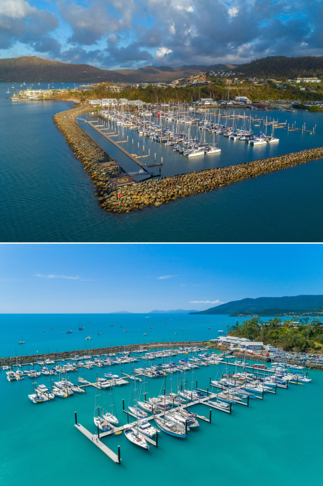 Top: Abell Point Marina in the immediate aftermath of Cyclone Debbie with several arms out of action and, below, after the restoration program. (Images: Abell Point Marina)