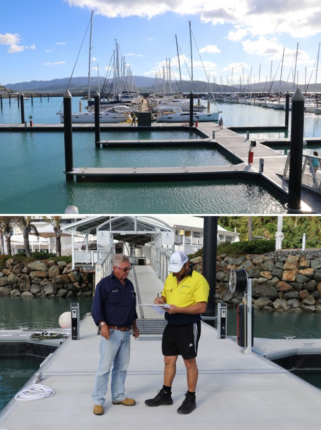 Top: Repaired pontoons at Abell Point Marina and, below, Ross Paterson, Abell Point Marina's maintenance and infrastructure manager (right) with Ryan Hogan, project manager, Superior Jetties, signing off on completion of the first stage of the pontoon replacements. (Images: Abell Point Marina)