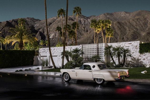 Abrigo Corner I. 1957 Thunderbird seen in front of a 1961 home. Photographed by moonlight as part of the series, Midnight Modern. Palm Springs, California. © Tom Blanchford.