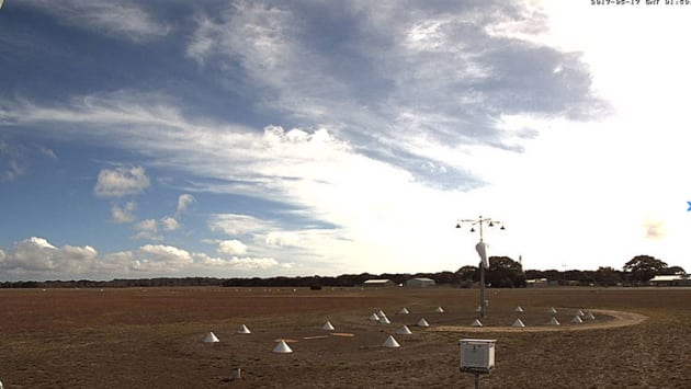 The weather at Kingscote Airport on Kangaroo Island as seen by weather camera. (Bureau of Meteorology)