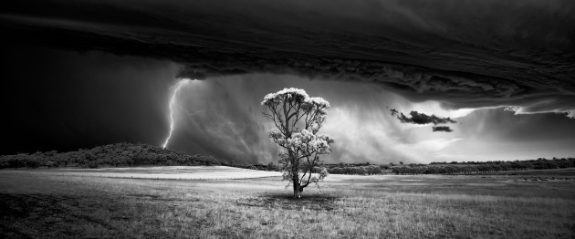 Barossa Valley, South Australia. Storm chasing in the Barossa Valley let me to this tree in a field. I quickly got out of the car and was lucky to capture a handheld frame with a lightning strike before the storm hit. Canon 5D Mark II converted to 720nm infrared, Canon EF 16-35 f/4L @ 16mm, 1/250 sec @ f5.6, ISO 400, hand held. Monochrome conversion and curves adjustments in Photoshop CC.